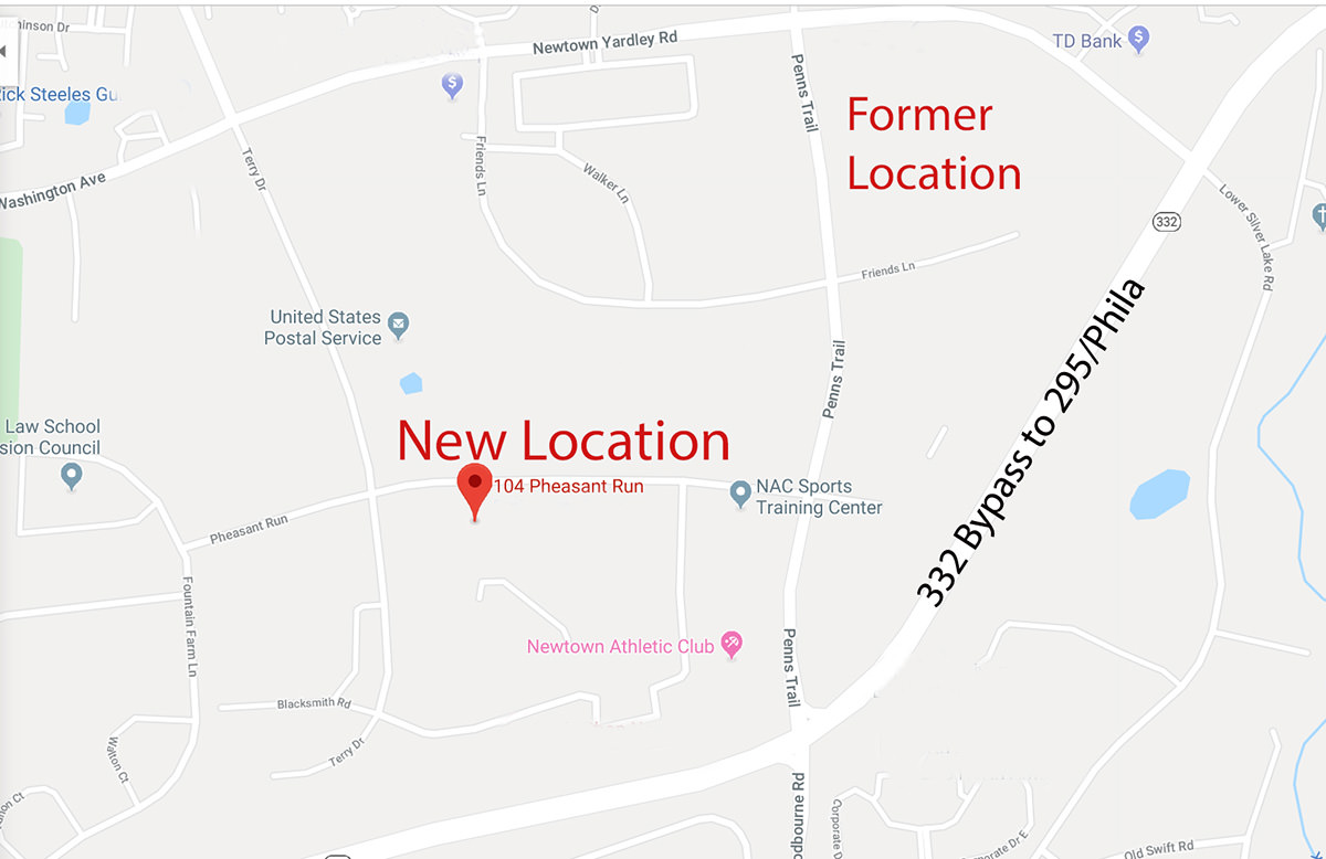 Our new location on the map! 104 Pheasant Run, Newtown, PA 18940.